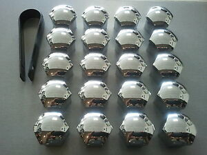 20-17mm-HEX-CHROME-ALLOY-WHEEL-NUT-BOLT-COVERS-CAPS-BIMECC-VAUXHALL-VW-RENAULT