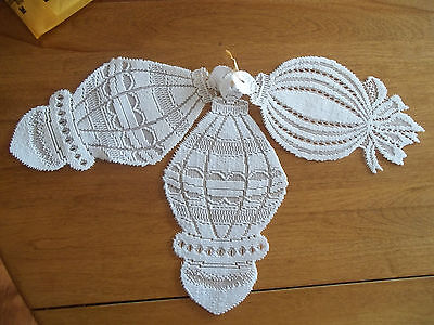 HERITAGE LACE WHITE SET OF 3 LACE CHRISTMAS WINDOW ORNAMENTS NWOT ITEM 2846 on Rummage