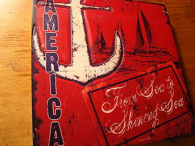 FROM SEA TO SHINING SEA Nautical Red Anchor Ship Sailing Home Decor Sign NEW