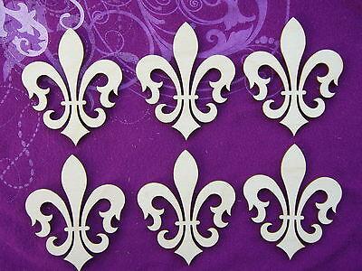 Fleur De Lis Unfinished Wooden Shapes 6 PCS # FLE024 Artistic Craft Supply