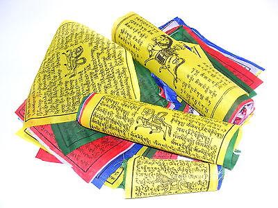 25 TIBETISCHE GEBETSFAHNEN 16cm x 15cm Länge 4m * NEPAL PRAYER FLAGS HIMALAYA