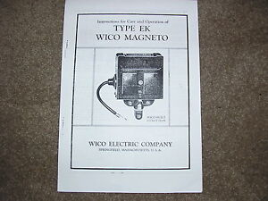 INSTRUCTIONS FOR TYPE EK WICO MAGNETO VINTAGE STATIONARY ENGINES BOOKLET COPY