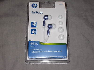 Ge Earbuds Changeable Cushions 4 Ft Cord 3.5mm Plug Purple Mp3 Phone Stereo