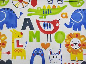 Prestigious escape elephant lion paintbox designer for Modern childrens fabric