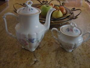 Walbrzych china Set Tea Pot/Sugar bowl made in Poland  Floral Garden pattern