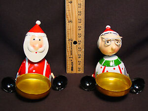 Santa-Mrs-Claus-Handmade-Votive-Candle-Holder-Tea-Light-Set-Mini-Metal-Xmas
