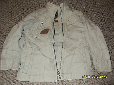 NEXT LIGHT BEIGE THICK COTTON JACKET WITH GRANDAD STYLE  COLLAR AGE 4 YEARS