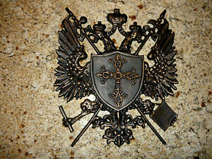 Shield medieval wall plaque metal decor coat of arms eagle crown cross fleur - Plaque de decoration ...