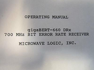 Microwave Logic Operating Manual For Gigabert-660 Tx Bit Error Rate Transmitter