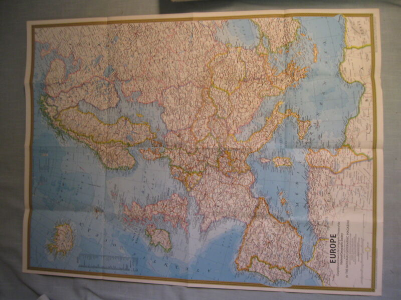 VINTAGE EUROPE + CELTIC EUROPE MAP National Geographic May 1977 MINT