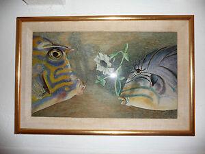 Peinture sur verre couple de poissons de martha ryther for Peinture sur verre