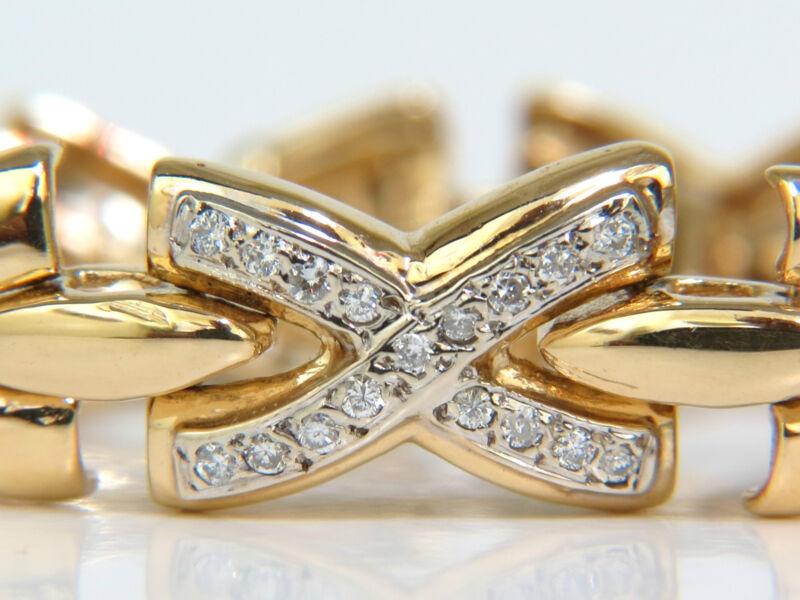 "█$6500 1.00ct. DIAMONDS CLASSIC ""X"" LINK BRACELET G/VS 14KT A+█"
