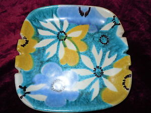 VINTAGE-ART-POTTERY-RAYMOR-ITALY-OLD-HAND-PAINTED-ITALIAN-ASHTRAY-DISH-FLOWERS