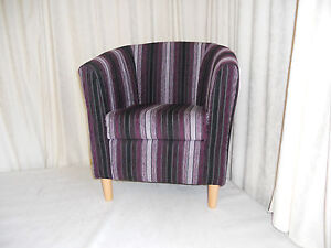 Mini Tub Chair Aubergine Vista Stripe Free Delivery