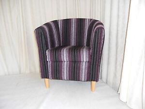 Mini Tub Chair Aubergine Vista Stripe Free Delivery
