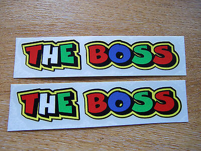"""Valentino Rossi style text - """"THE BOSS""""  x2 stickers / decals  - 5in x 1in"""