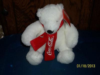 "COKE COCA COLA WHITE SITTING POLAR BEAR PLUSH 8"""