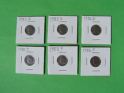 1982 P&D, 1983 P&D, 1986 P&D ROOSEVELT DIME KEY YEAR SET IN 2X2 HOLDERS