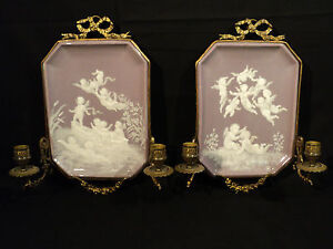 """RARE PAIR 19th. C. MINTON """"PATE-SUR-PATE"""" WALL MOUNTED PLAQUES w ..."""