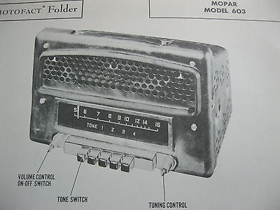 1949,1950 CHRYSLER PRODUCTS MOPAR 603 RADIO PHOTOFACT