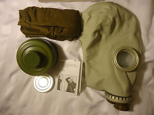 NEW Soviet Russian Civilian Gas Mask GP-5 Size MEDIUM + NBC Filter & Haversack
