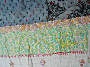 Vintage-Kantha-Quilt-Throw-Sari-Blanket-Green-Grey-Red-floral-82-60-BDS-EHS