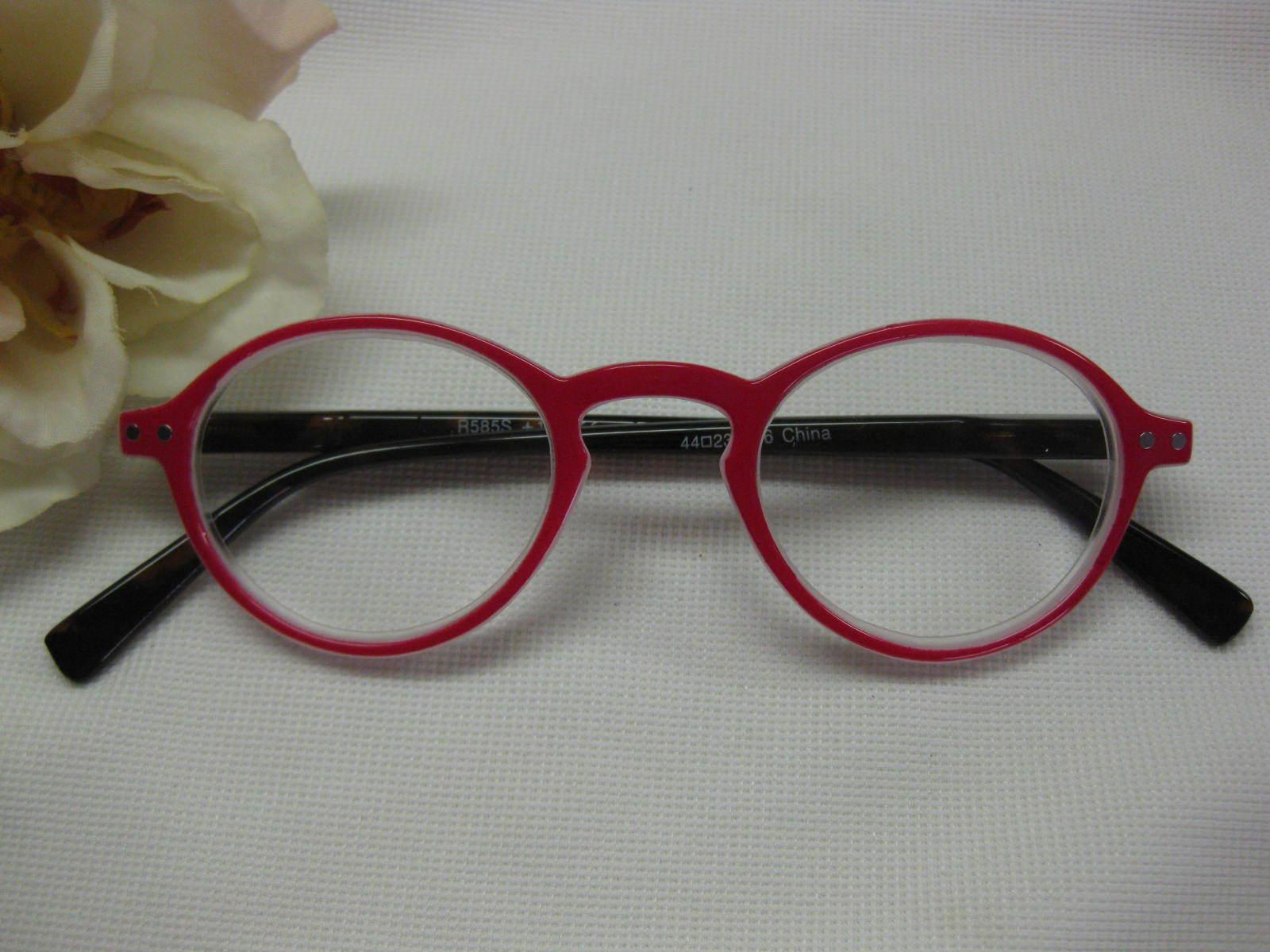 Oliver Red Round Hornrim Retro Tortoise Spring Temple Reading Glasses +1.25