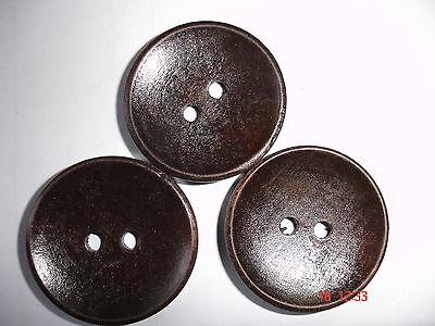 3 Stück  Knöpfe Holz dunkelbraun 30mm K301.8