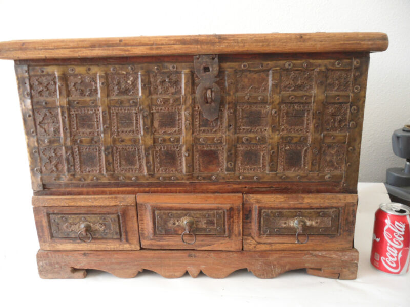 Very Old Large Antique Wooden Chest Ornate Brass Metal Work Hidden Compartments