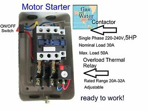 Magnetic Motor Starter Control 5 Hp Single Phase 220 240v 20 32a On Off Switch Ebay