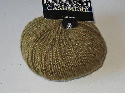 Grignasco 100% Fine Italian Cashmere Yarn Heathered Golden Olive Singles