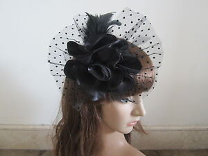 NEW-Black-Wedding-Feather-Hair-Fascinator-Clip-Corsage-Brooch-Pin-Fascinators