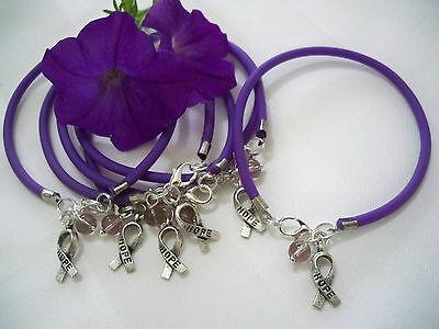 6 Purple Pancreatic Cancer Alzheimers Lupus Fibromyalgia Awareness   Bracelets