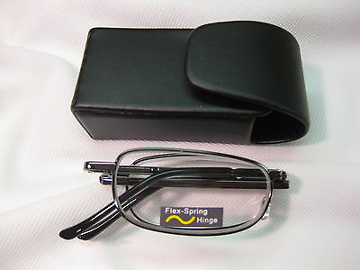Black Compact Folding Reading Glasses Black Snap Case With Belt Clip +1.25