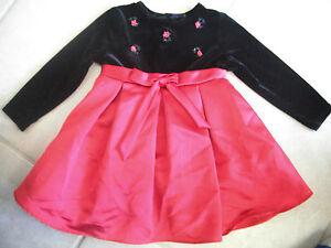 Baby Girls Fancy Christmas Dress Red Black Velvet Rare