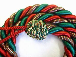 2-Rope-curtain-tiebacks-RED-GREEN-slender-slinky-cord-drape-tie-Xmas-Christmas