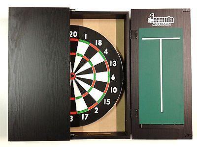 Dart Board Set Black Ash Dart Board Cabinet And Tx100 Dart Board + 6 X Darts.
