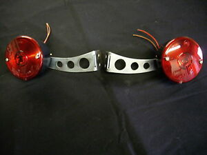 Universal Hot Rat Rod Tail lights & Brackets Turn & Stop Kustom Street Trailer