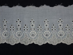 Cream Broderie Anglaise Lace Trim - Dolls- 70mm (2 3/4