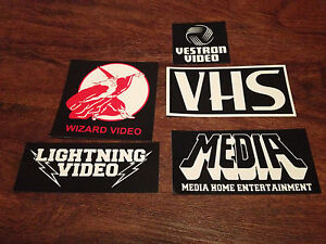 retro VHS distributor VINYL STICKERS! big Wizard, Vestron, Lightning, box