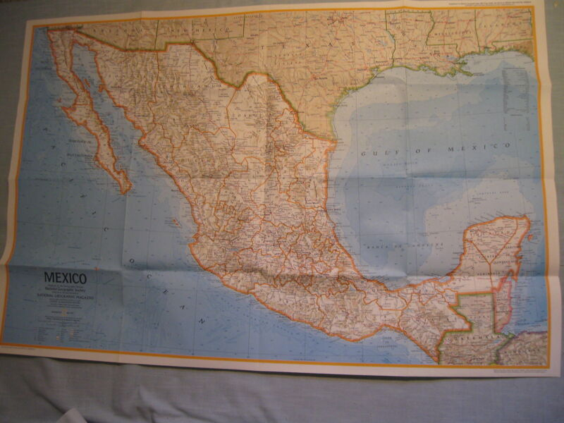 VINTAGE MEXICO & CENTRAL AMERICA MAP National Geographic May 1973 MINT