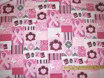 Pink Ribbons Of Hope Graffiti Breast Cancer Survivor Fabric By The 1/2 Yd 35043