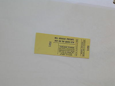 Rare Bill Graham DAY ON THE GREEN Oakland CONCERT TICKET 1978 Yellow