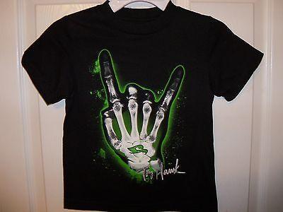 Tony Hawk Skateboard Black Skeleton Hand Short Sleeve Shirt Boys Size 4