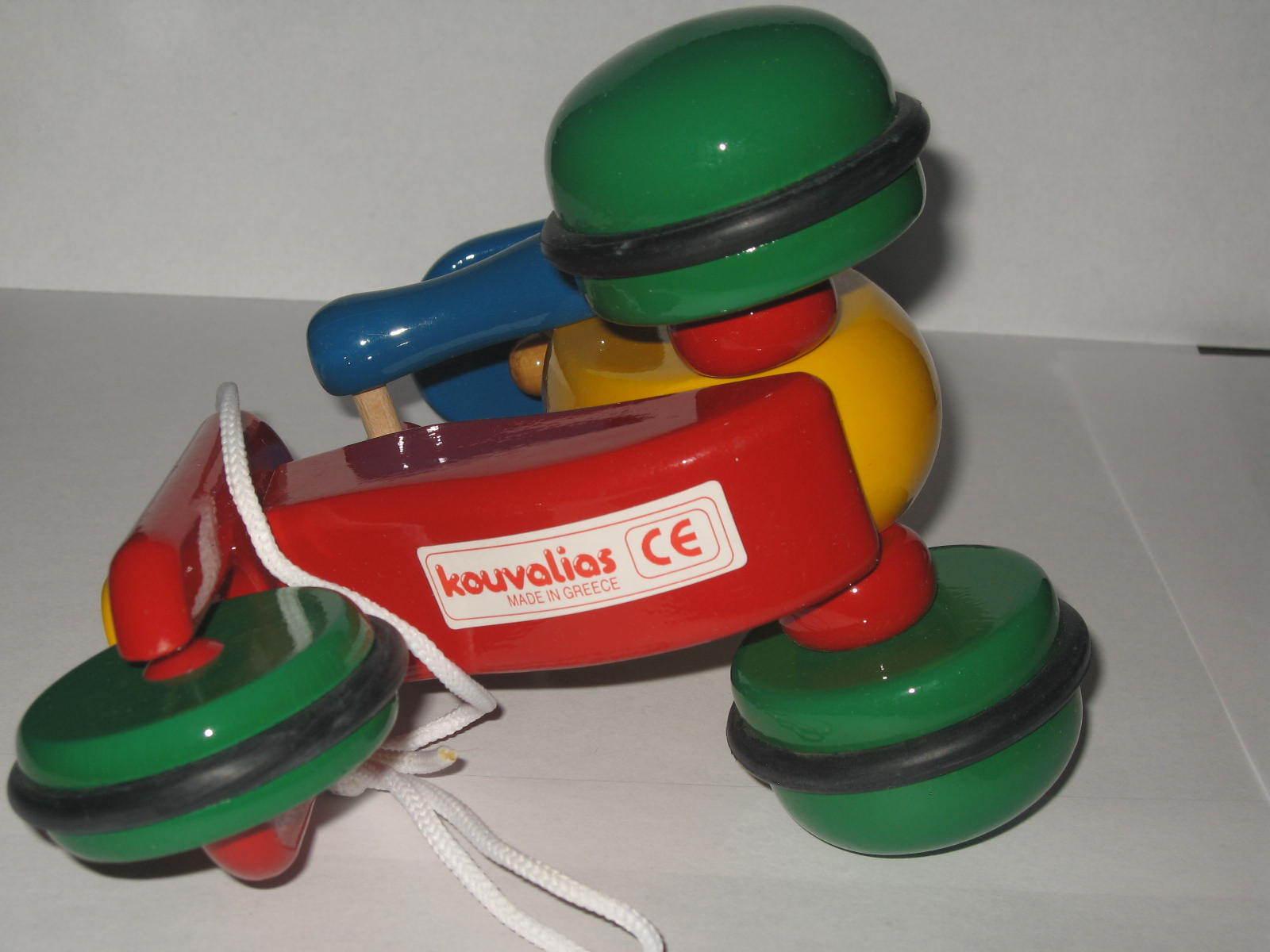 Kouvalias Wooden Toys ~ Ultra rare vintage kouvalias cyclist greek pull wooden toy