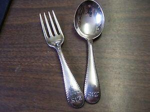 Georg jensen inc sterling silver usa set of baby spoon and for Sterling silver baby spoon and fork