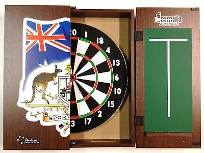 Sports Bar Emblem Dart Board Cabinet Tx100 Dart Board 6 Darts Set Australia Day