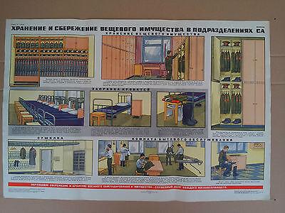 Plakat Schrankordnung Unterkunft Bettenbau Soldat Armee 1983 UDSSR  Sowjet Armee