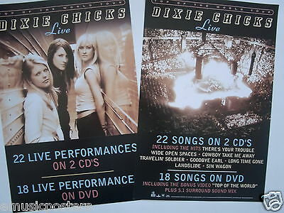 "DIXIE CHICKS ""LIVE"" 2-SIDED U.S. PROMO ALBUM POSTER - Country, Bluegrass Music"