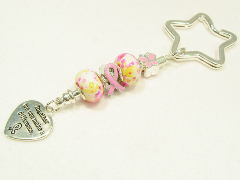 #6261 -- PINK RIBBON AWARENESS CHARM STERLING 925 SILVER BEADS KEY CHAIN